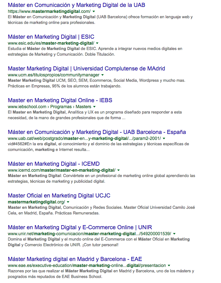 Resultados de busqueda master en marketing digital
